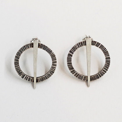 small round textured sterling silver post earrings with bar