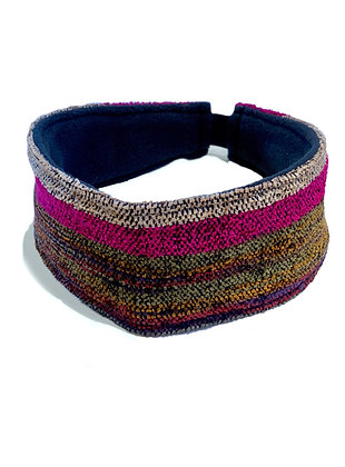 woven headband with magenta, brown, and green striped pattern