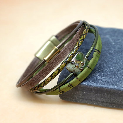 brown, green leather strand bracelet, magnetic clasp