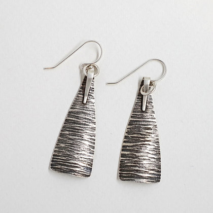 textured oxidized sterling silver triangle earrings