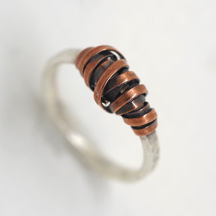 sterling ring copper wire laced wrap