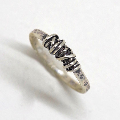 textured oxidized sterling band silver wire  wrap