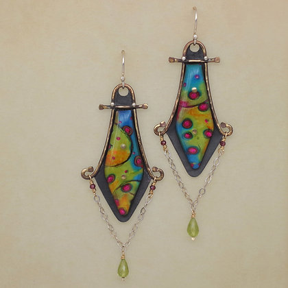 contemporary polymer clay silver earrings  Sue Savage