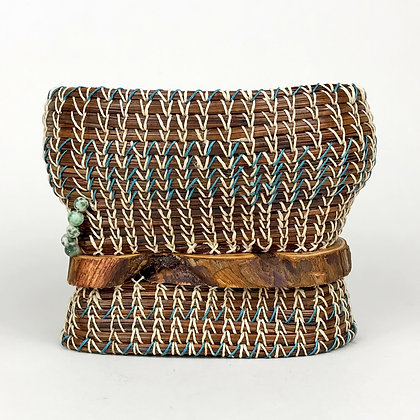 Small woven basket, teal and white threads, wood and bead accents