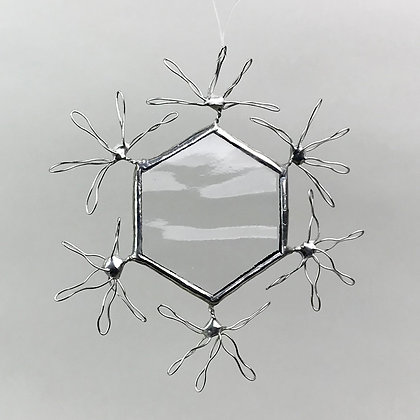 Clear glass snowflake ornament with silver wire accents
