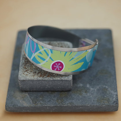flower design pink blue lime green cuff from reclaimed litho tins