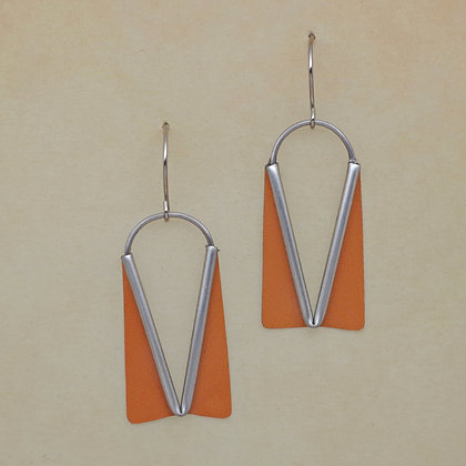 contemporary orange earrings from reclaimed litho tins