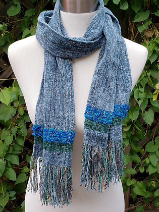 Handwoven grey blue scarf with embellishment and fringe