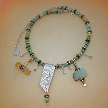 Beaded with turquoise, tiger eye disks, amber, chrysoprase