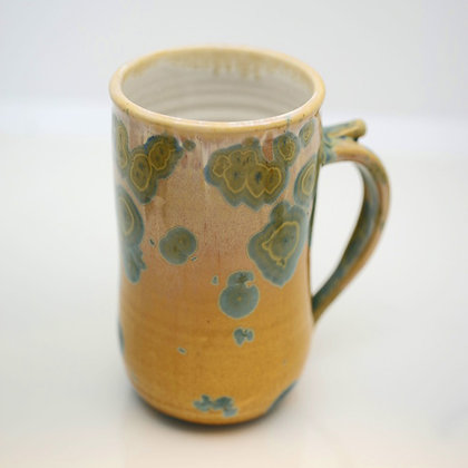 right hand view, large crystalline glaze, gold and green mug