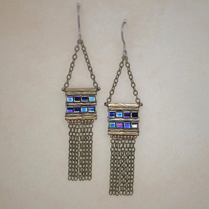 stitched purple beads dangling chain earrings