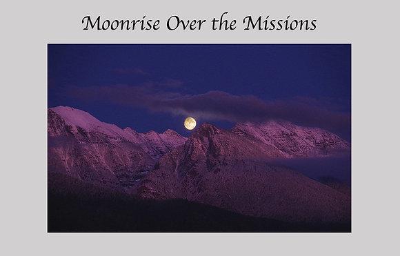 Moonrise, Mission Mountains, Montana, alpine glow, full moon, purple mountains
