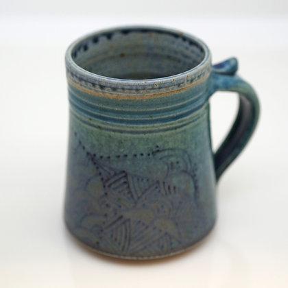 right hand view, blue and green Deco design mug