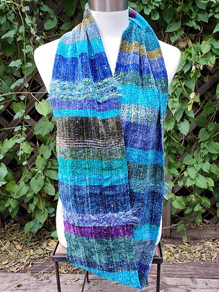 Caribbean and seafoam soft fibers handwoven