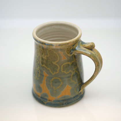 right hand view, green crystals on gold, large mug