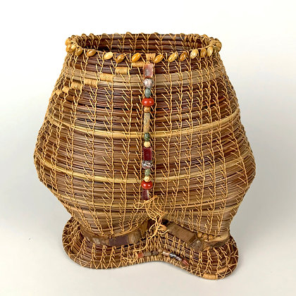 Seven inch tall medium brown woven basket with Jasper bead accents