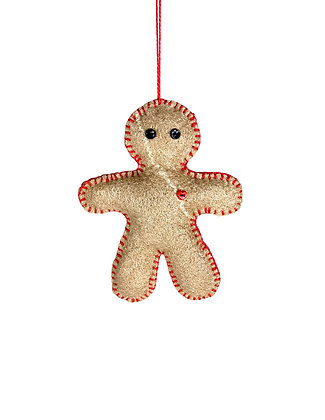 Light brown with red stitching wool felted gingerbread man ornament