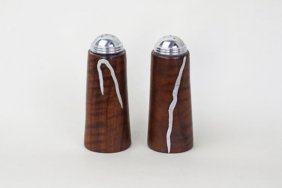 Dark Walnut salt and pepper shakers with silver colored chip inlay