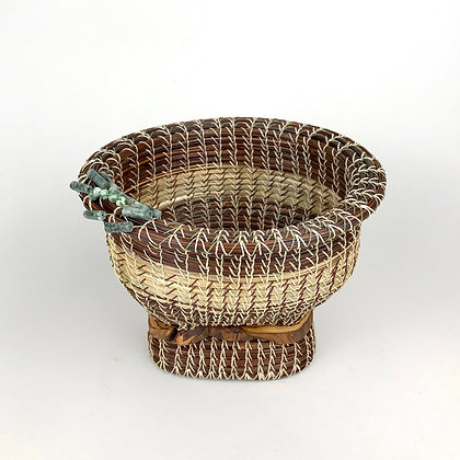 Woven pine needle basket with agate beads and wood accents