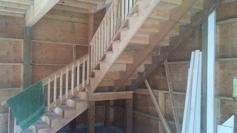 Stairs with one turn.