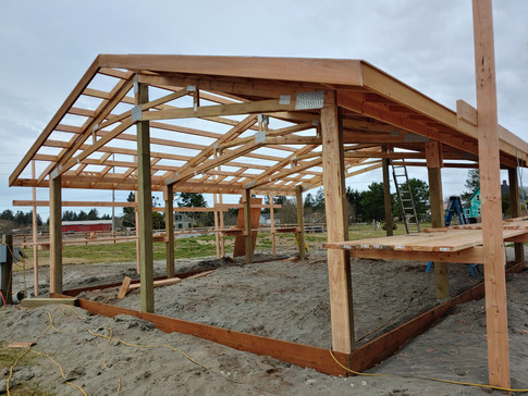 6x6 Pressure treated posts with engineered trusses.