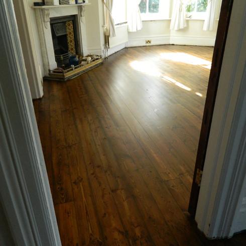 Pine floor boards sanding in East Sussex
