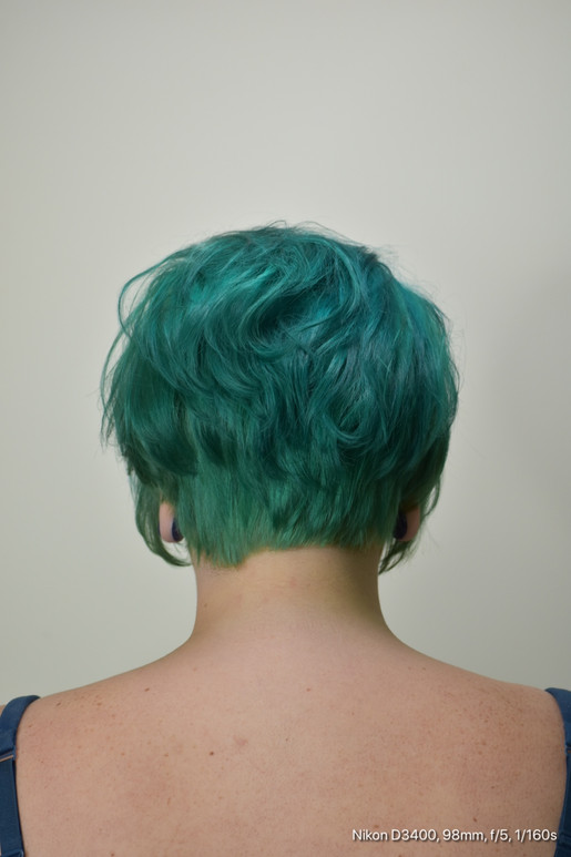 Short Hair with Green Color