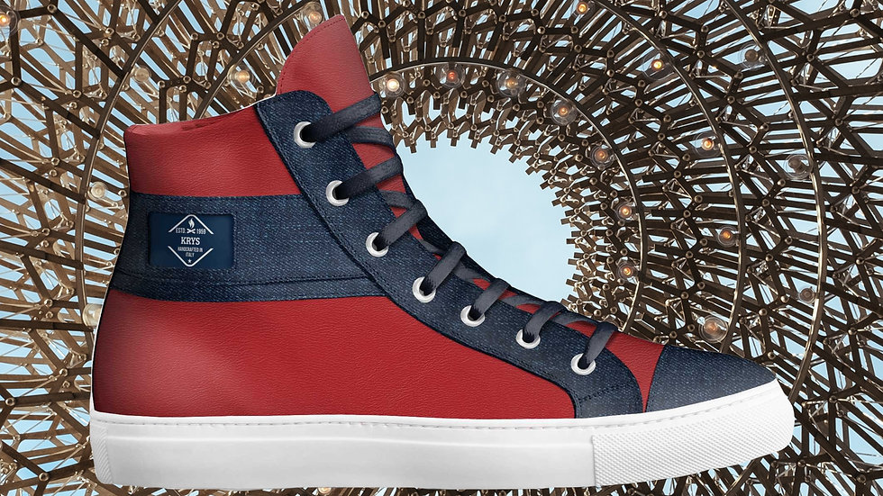 Red and Denim High Top Sneaker