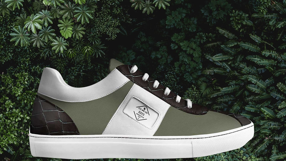 Olive Brown & White Low Sneaker