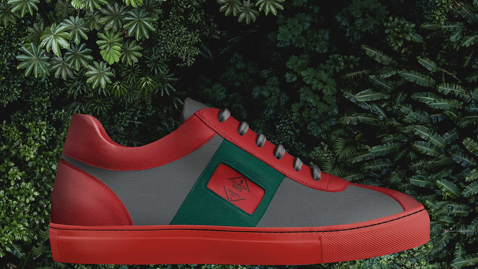 Red Green & Grey Low Sneakers