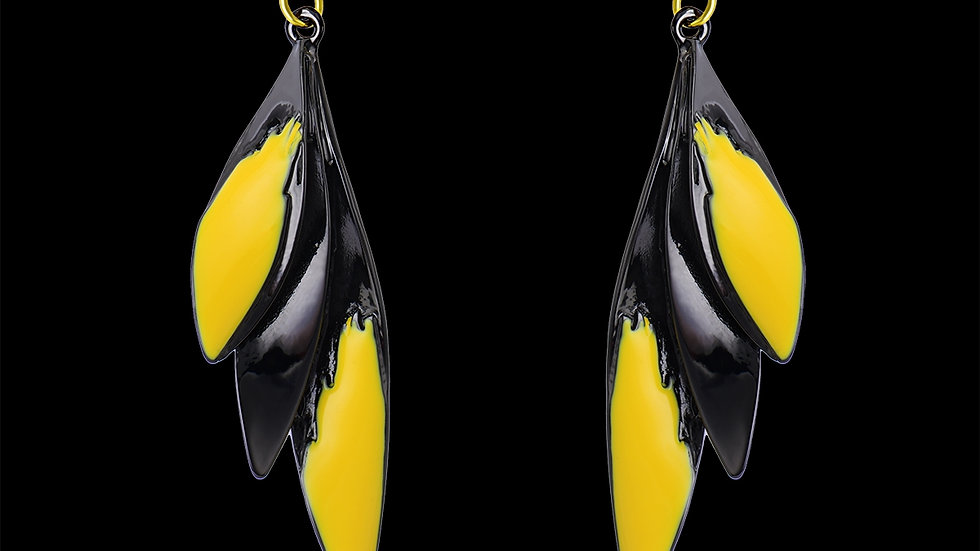 Black & Yellow  Wing Earring