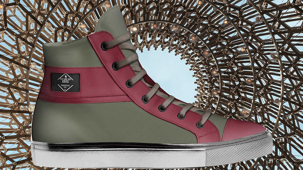 Olive Red and Silver High Top Sneaker