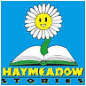 Haymeadow Stories logo. Cartoon image of sunflower growing out of an open book.