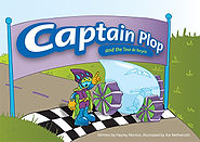 Captain Plop recycled book cover. Captain Plop and aerodynamic water bike at race finish line.