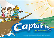 Captain Plop desalination book cover. Captain Plop, boy and girl stand at bow of boat. Land visible.