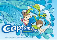 Captain Plop book cover. Captain Plop, boy and girl inside a bubble, surrounded by water.