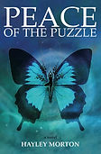 Peace of the puzzle book cover. Ulysses blue butterfly with woman in tree post as butterfly's body.
