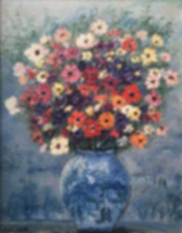 Cascella, il vaso di Zinnie, 1973, olio