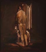Franco Francese, Imbarco, 1979, olio su carta su tela, 57,5 x 52 cm
