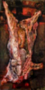 Giancarlo Vitali, toro squartato, olio su tavola, 1984, 80 x 160 cm