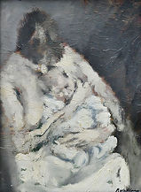 Paolo Vallorz, maternità 1965 olio su cartone 32,5 x 24 cm