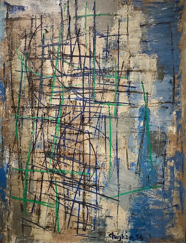 Alfredo Chighine, Composizione ritmica, 1956, olio su tela, 116 x 89 cm