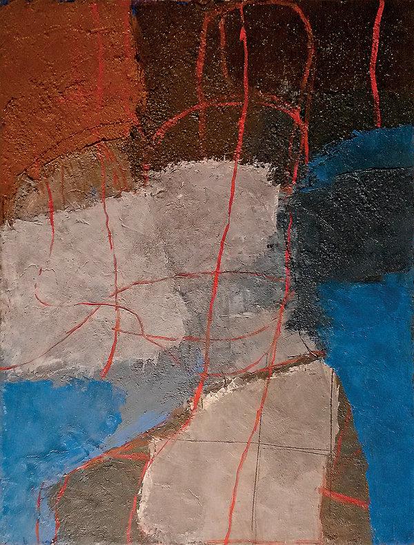 Alfredo Chighine, Grigio azzurro, 1973, olio su tela,116 x 89 cm.