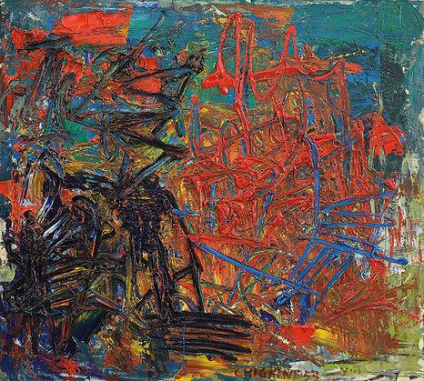 Alfredo Chighine, Tramonto, 1957, olio su tela, 63 x 70 cm