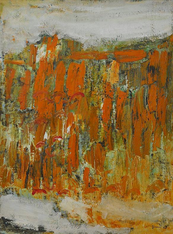 Piero Giunni, Il tetto antico, 1965, 131 x 92 cm.