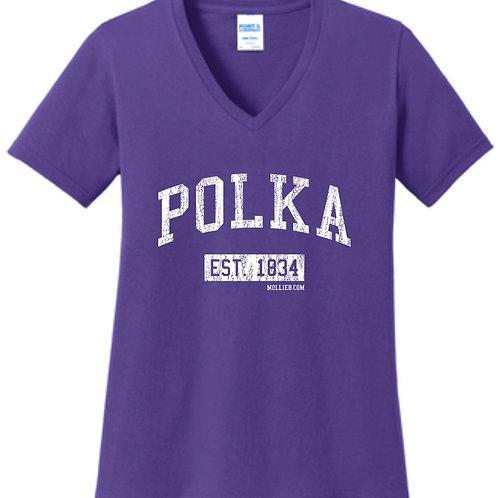 """New Lady's V-neck Shirt: """"POLKA"""""""