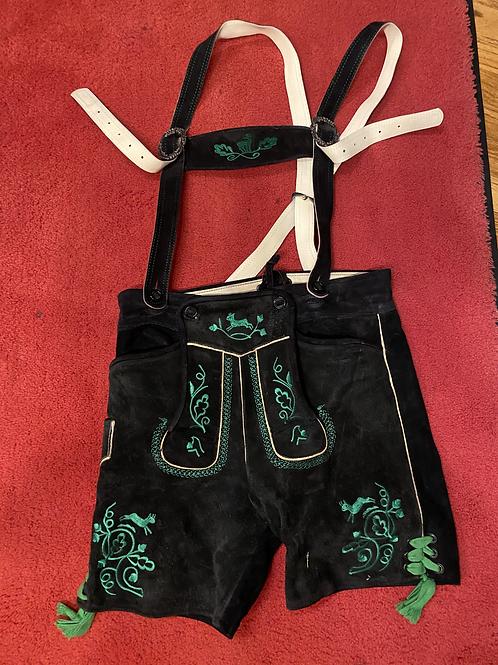 Mens Black Lederhosen, with straps, Used