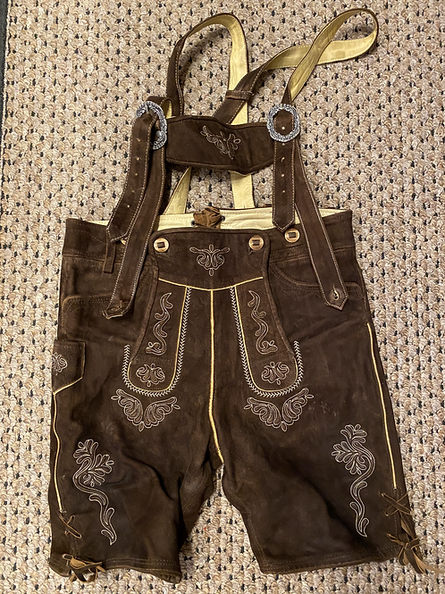 Small Mens Brown Leather Lederhosen with Straps