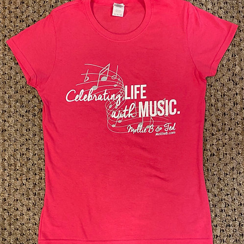 """Lady's Scoop-neck Hibiscus-colored shirt: """"Celebrating Life"""""""