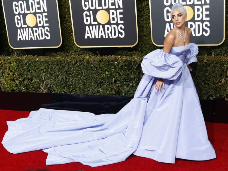Hollywood Statuesque in a Thousand Yards of Blue Taffeta